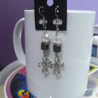 Crystal & Hematite & Cross earrings