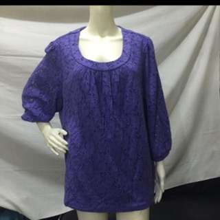 CHARTER CLUB violet long sleeves plus size ladies blouse xxxl