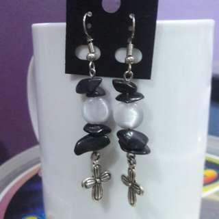 Black Onyx Gemstone chips and white cat's eye stone earrings