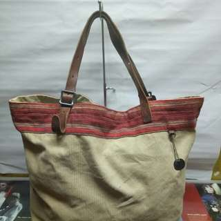 Denim n Supply RALPH LAUREN leather canvas tote bag