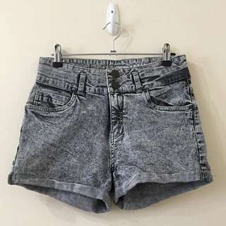 Cotton On Grey Acid Wash High Waisted Denim Shorts