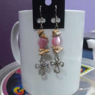 Picture Jasper gemstone chips and pink cat's eye stone earrings