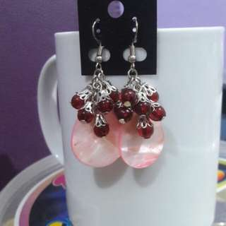 Pearly discs Grape Bunch earrings