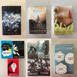 Books by John Green, Lauren Oliver, Becca Fitzpatrick