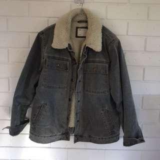 ASOS winter jacket thick wool denim UK 14