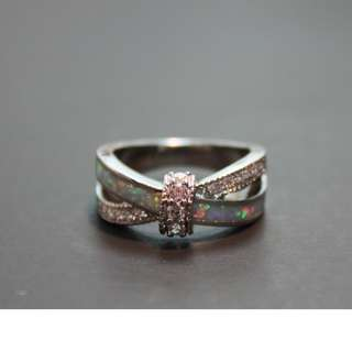 18K White Gold Plated Opal Ring (Size 9.5)