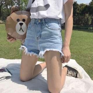 (instocks) ripped denim high waisted shorts