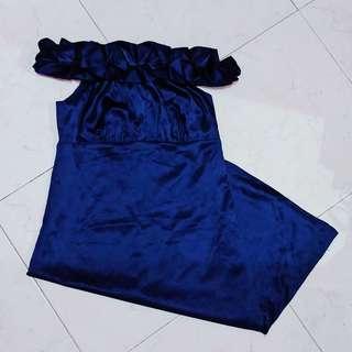 Blue Off - Shoulder Dress