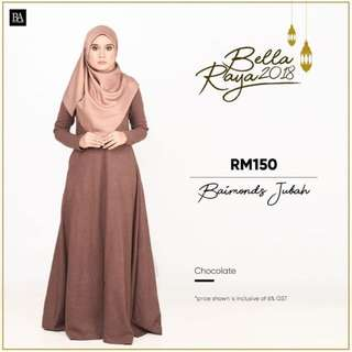 BELLA AMMARA🌸JUBAH @ $56🌸 OPEN ORDER NO MORE RESTOCK ONCE SOLD OUT❤️Buy 2 and get home courier for only $2 or buy 1 and get normal postage for 90 cents CHOCOLATE