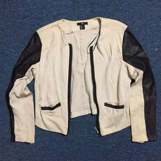 HnM Nude Leather Jacket with Black Leather Stripes