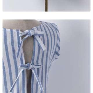 Mercci 棉質美背淺藍直條背心上衣