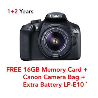 New Canon EOS 1300D with 18-55mm IS II Lens (Free 16GB Card + Bag + Redeem Battery)