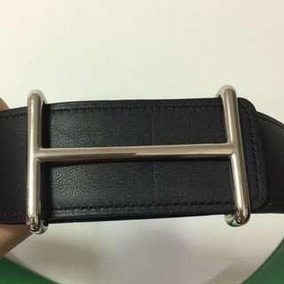 Authentic Hermes 42mm Silver Polished Idem Belt Buckle (Belt Not Included)