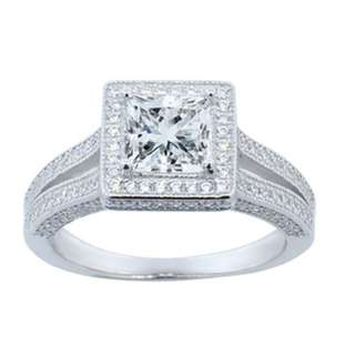Princess Cut Halo Ring with Swarovski Elements Crystals (size 5)