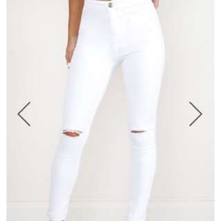 White High Waisted Skinny Jeans