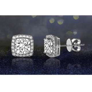 3.44 CTTW Halo Stud Earrings with Swarovski Elements Crystals