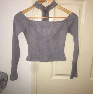 Grey Off Shoulder Crop