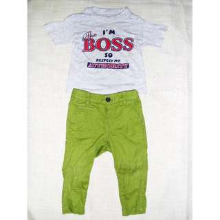 Charity Sale! Authentic H&M Baby Boy's Pants with T-shirt set Size 6-9 months