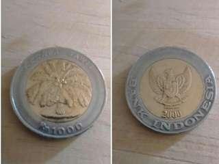 Uang kuno 1000 rupiah tahun 2000