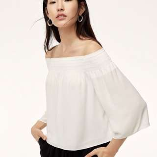 Aritzia off the shoulder black top in small