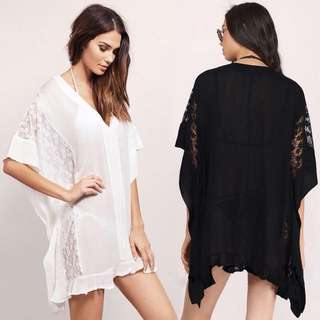 Lace Chiffon Plus Size Cover Top
