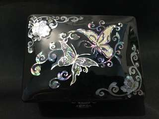 Black Mother Of Pearl Box with Butterflies