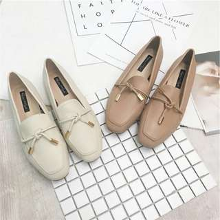 Pink Beige Leather Loafers