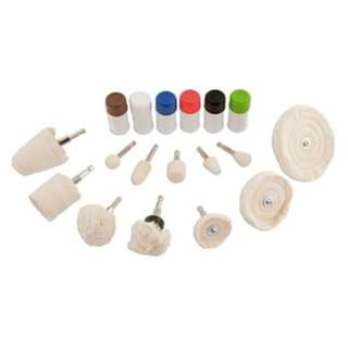 Polishing Kit 18 pieces  An automotive polishing kit suitable for a variety of materials including aluminium, steel, stainless steel, most plastics, brass etc. Designed for use with an electric drill