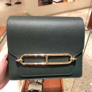 全新Hermes roulis mini vert titen (gold)