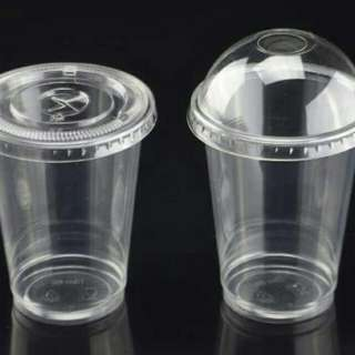 Plastic bottles and cups