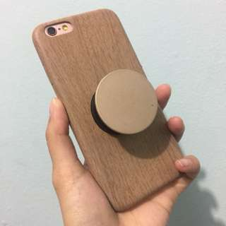 Wood Case iPhone 6/6s + Popsocket Gold