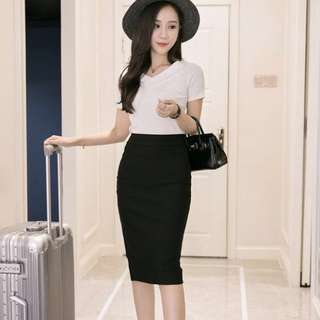 Black Pencil Skirt Office Wear Casual