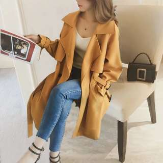 2018 spring new Korean version of the long paragraph loose double breasted lapel casual simple long windbreaker jacket female