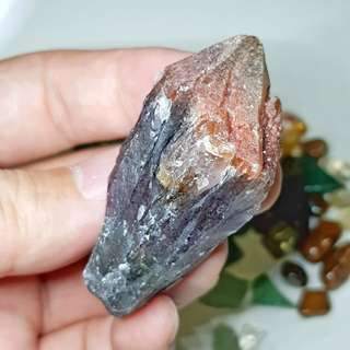Red capped Hematite Raw Auralite / Super 7 from BRAZIL - Divine Footprint - Healing / Cleansing / Blessing