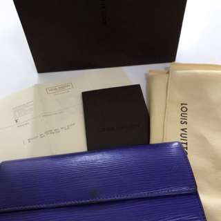 LV epi purple long wallet
