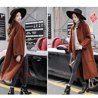 全新焦糖紅咖啡色長版大衣外套