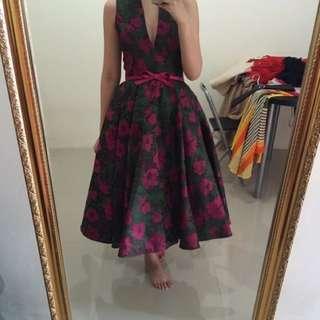 Flower jaquard dress