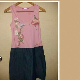 Embroidered top/soft denim bottom dress