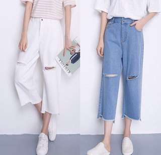 INSTOCKS Korea Ulzzang Ripped Oversize Denim Jeans