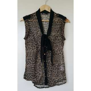 Sleeveless Sheer Animal Print Top
