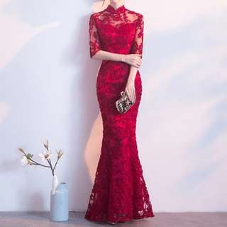Red qipao design mermaid Dress / evening gown