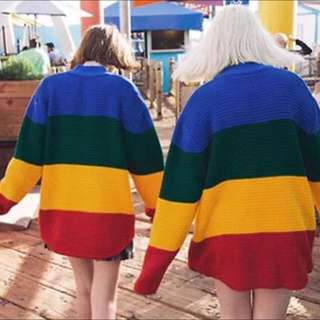 Oversized Rainbow Patchwork Pullover Jumper