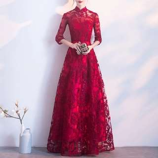 Wine red long sleeve qipao design Dress / evening gown