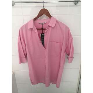 Pink Button Up Tee