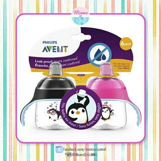 ‼️NEW‼️AVENT My Penguin Sippy Cup 7oz 2-Pack (6m+)PINK/BLACK