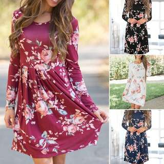 Preorder** Casual floral long sleeve printed dress