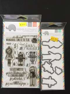 Mama Elephant Alpine Carolers Clear Stamps & Dies
