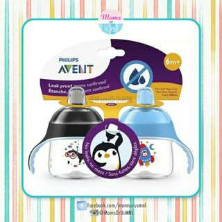 ‼️NEW‼️AVENT My Penguin Sippy Cup 7oz 2-Pack (6m+)BLUE/BLACK