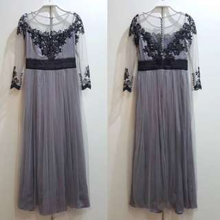 Dress pasta silver brokat kebaya hitam