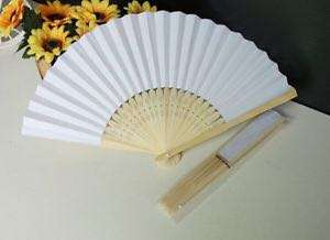 Chinese bamboo paper fan (white)